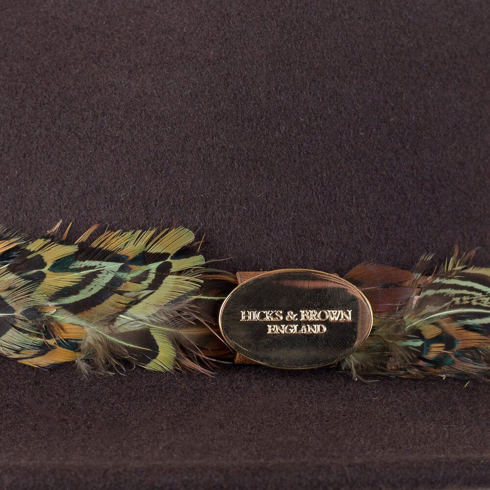 Hicks & Brown Hicks &  Suffolk Fedora Hat with Pheasant Feather Wrap Brown