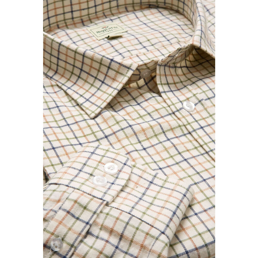 HOGGS OF FIFE Hoggs of Fife Pure Cotton Tattesall Shirt Tan/Navy/Green
