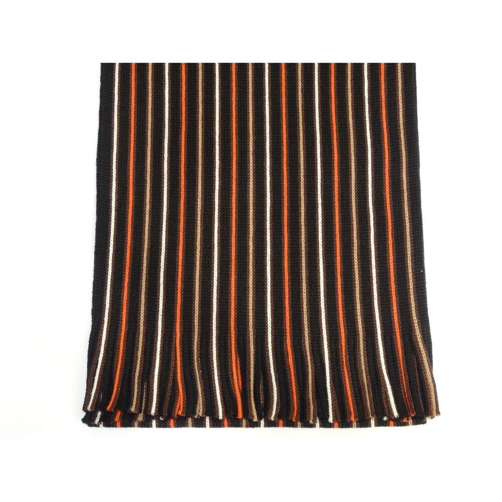 Hugo Spiecker Mens 100% Wool Scarf - Black/Orange