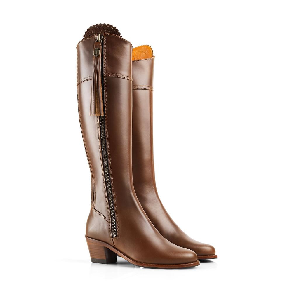 Fairfax & Favor Heeled Regina Leather Boot - Tan