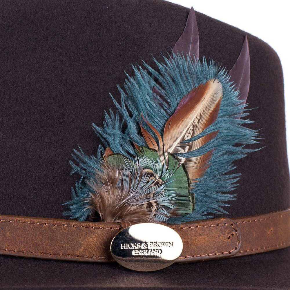 Hicks & Brown Hicks &  Suffolk Fedora Hat with Green Feather Brown