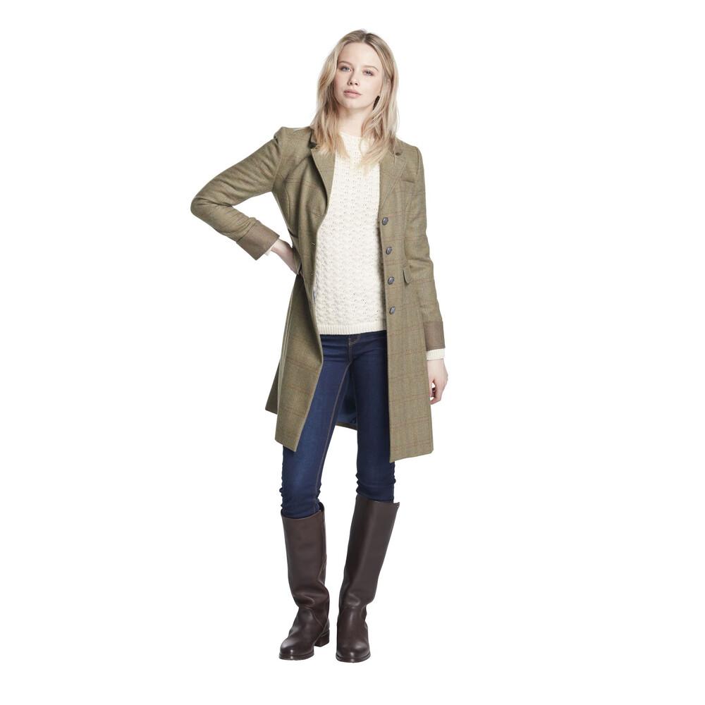 Dubarry Blackthorn Long Tweed Coat - Size 14 Connacht Acorn