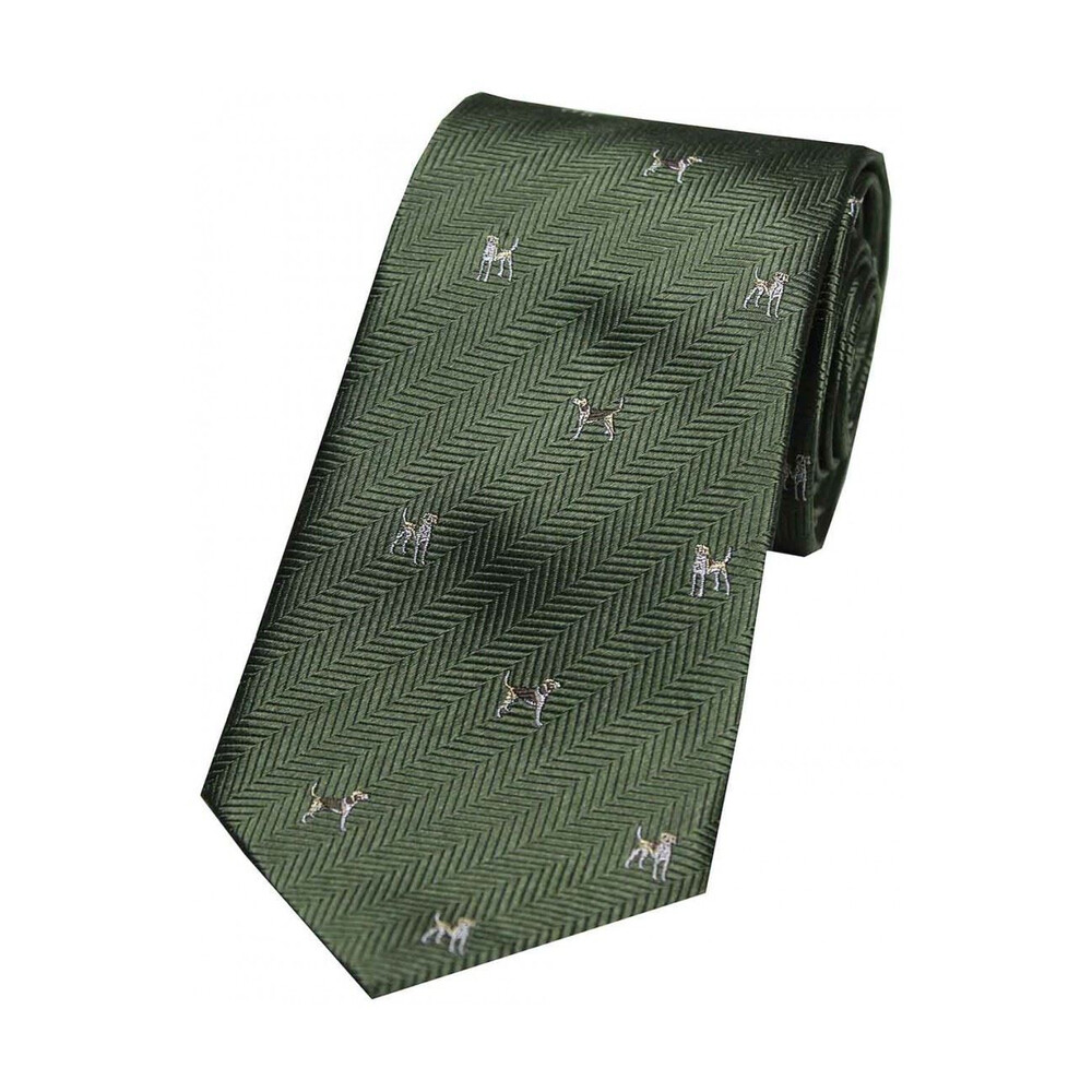 Soprano Country Silk Tie - Woven Hunting Dogs - Green