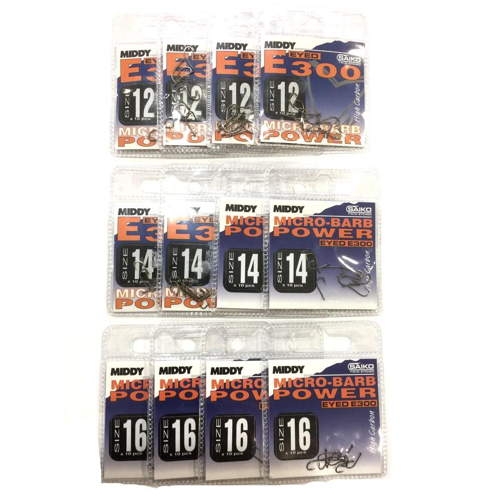 Middy E300 Hooks Bundle - 12 Packs - Sizes 12.14 & 16