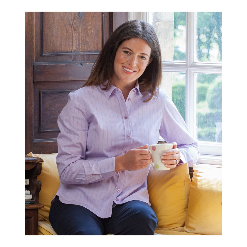 HOGGS OF FIFE Hoggs of Fife Bryony Ladies Cotton Shirt - Pink/Blue Micro Check Multi
