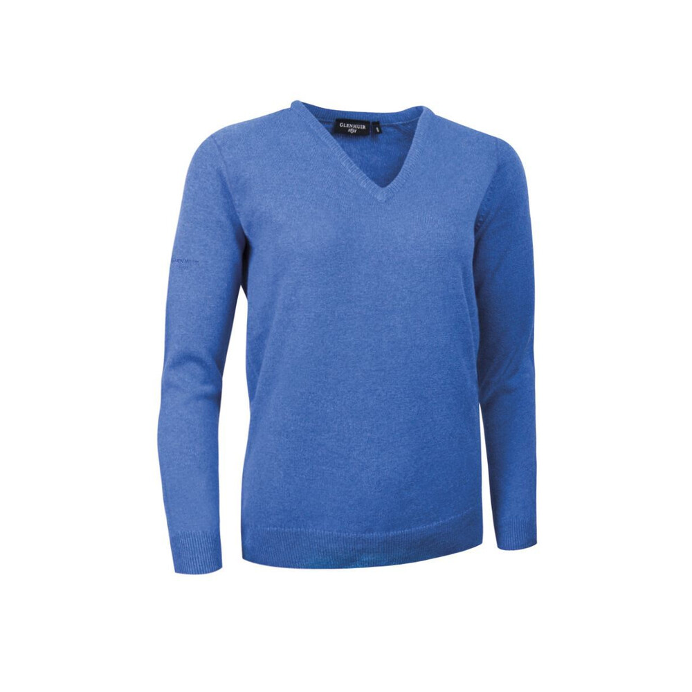Glenmuir Nina Ladies V-Neck Lambswool Jumper Blue