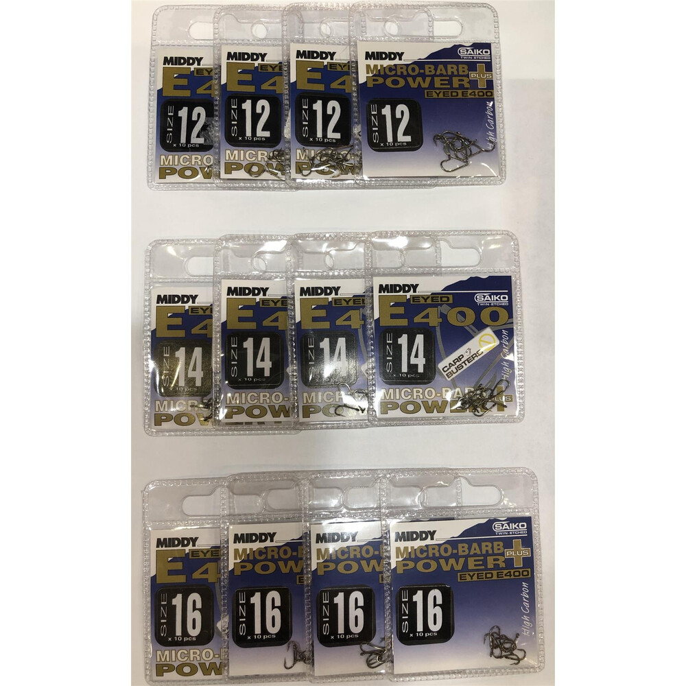 Middy E400 Hooks Bundle - 12 Packs - Size 12, 14 & 16