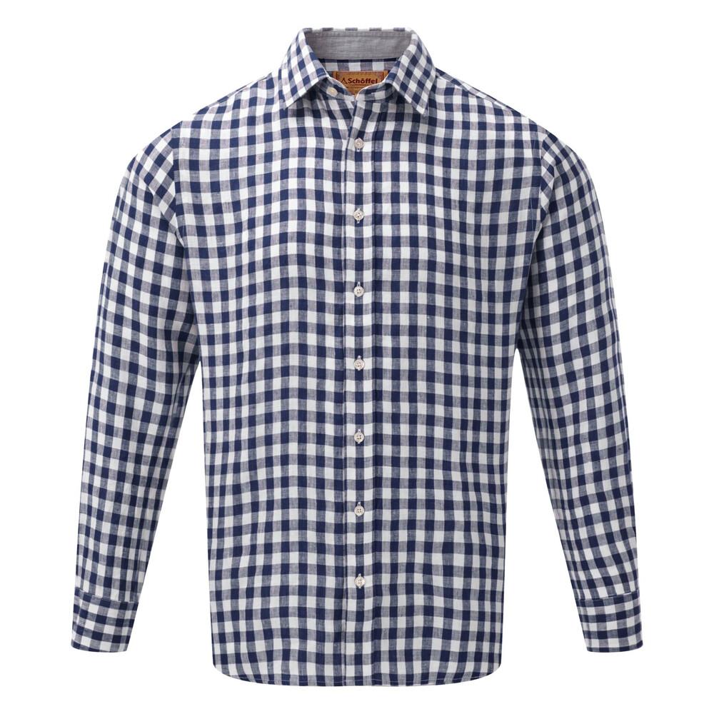 Schoffel Schoffel Sandbanks Linen Shirt - Navy Check