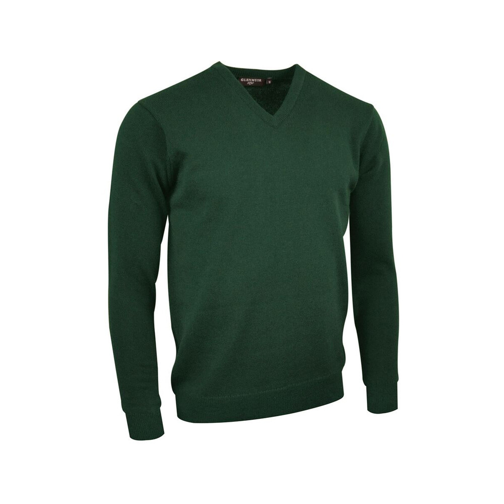Glenmuir Glenmuir Lomond Men's Lambswool V-Neck Jumper in Green