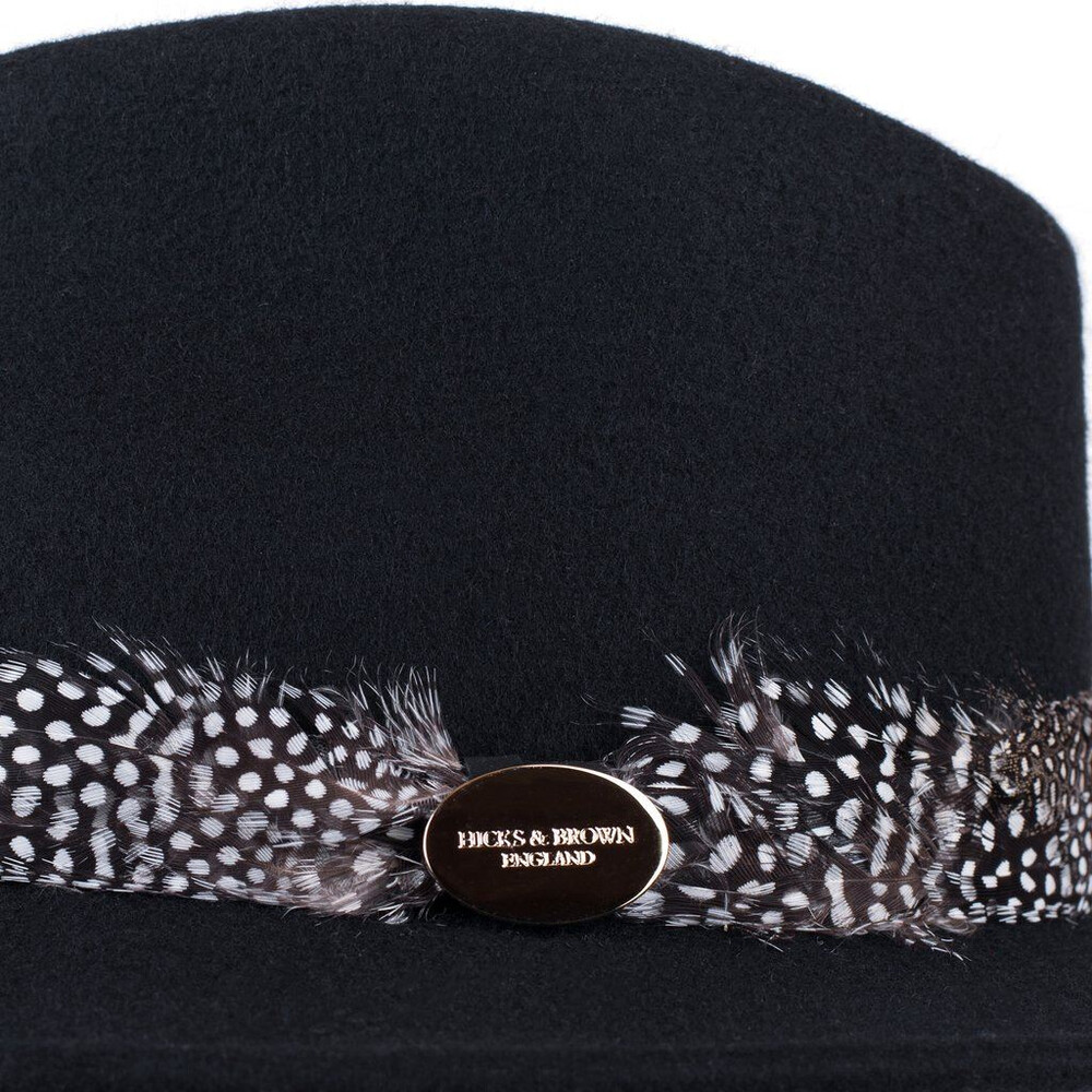 Hicks & Brown Suffolk Fedora Hat with Guinea Feather Wrap Black