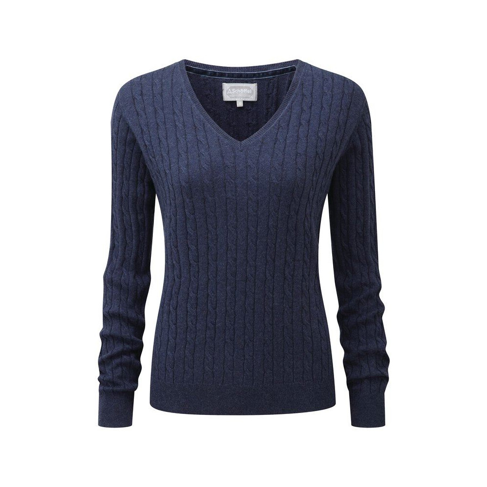 Schoffel Schoffel Ladies Cotton Cashmere Cable V-Neck Jumper - Indigo