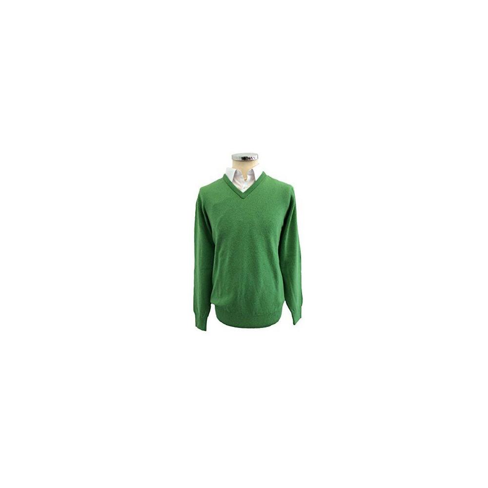 Hawick Lambswool V-Neck Pullover - Chameleon Green