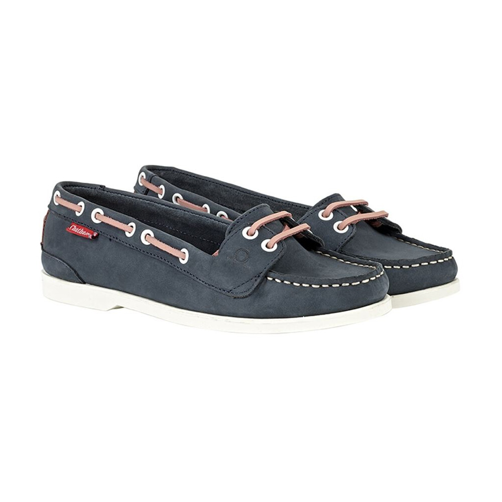 Chatham Chatham Rema Leather Boat Shoe - Navy/Pink