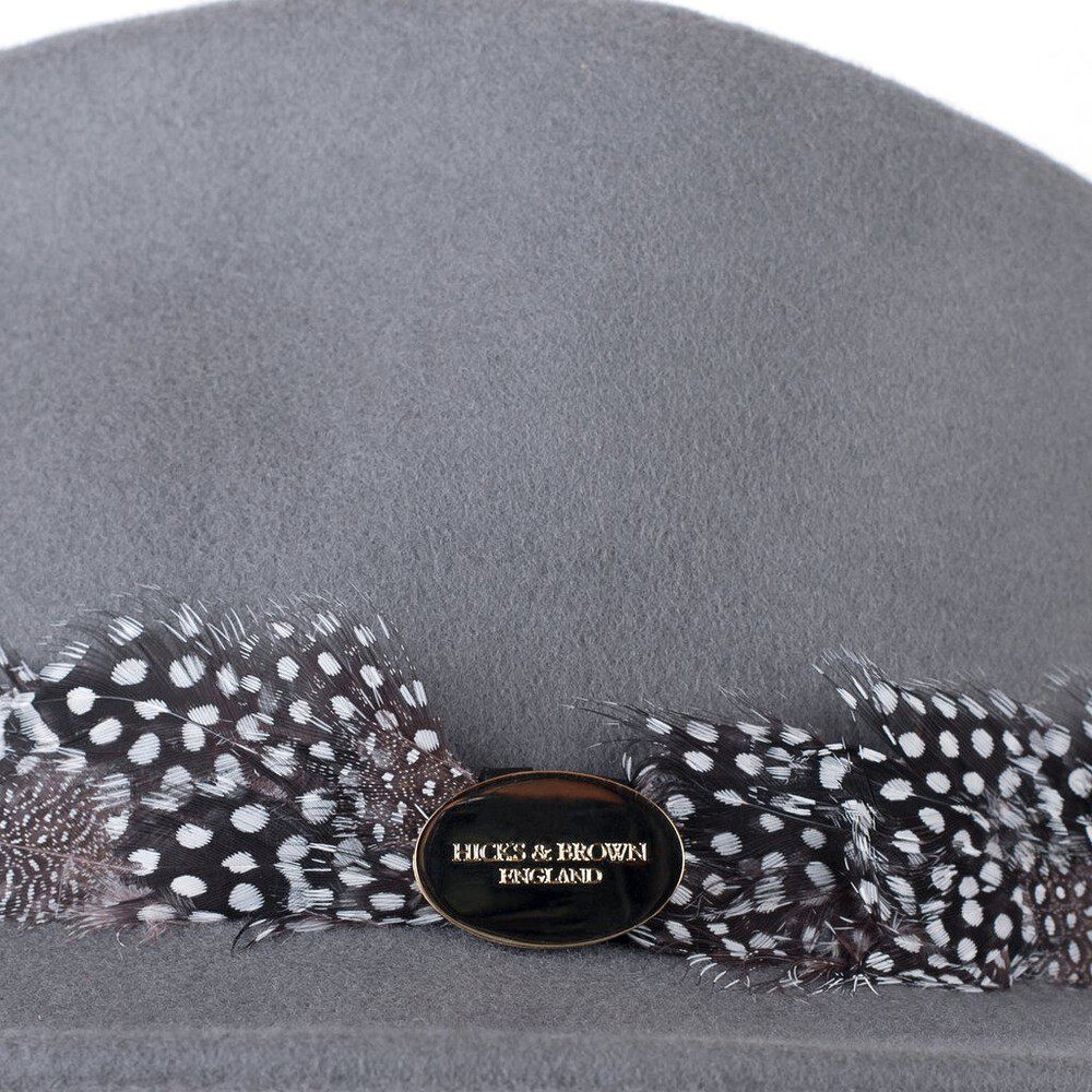 Hicks & Brown Suffolk Fedora Hat with Guinea Feather Wrap Grey