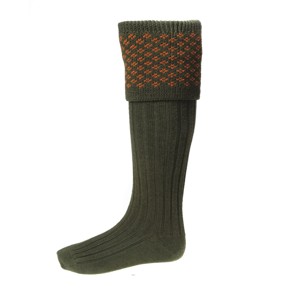 House of Cheviot House Of Cheviot Boughton Sock with Garters - Spruce/Burnt Orange