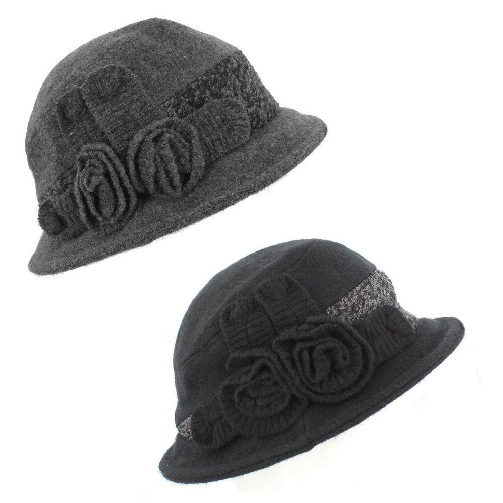 Wool Blend Ladies Felt Hat - Tweed Trim - Grey Grey