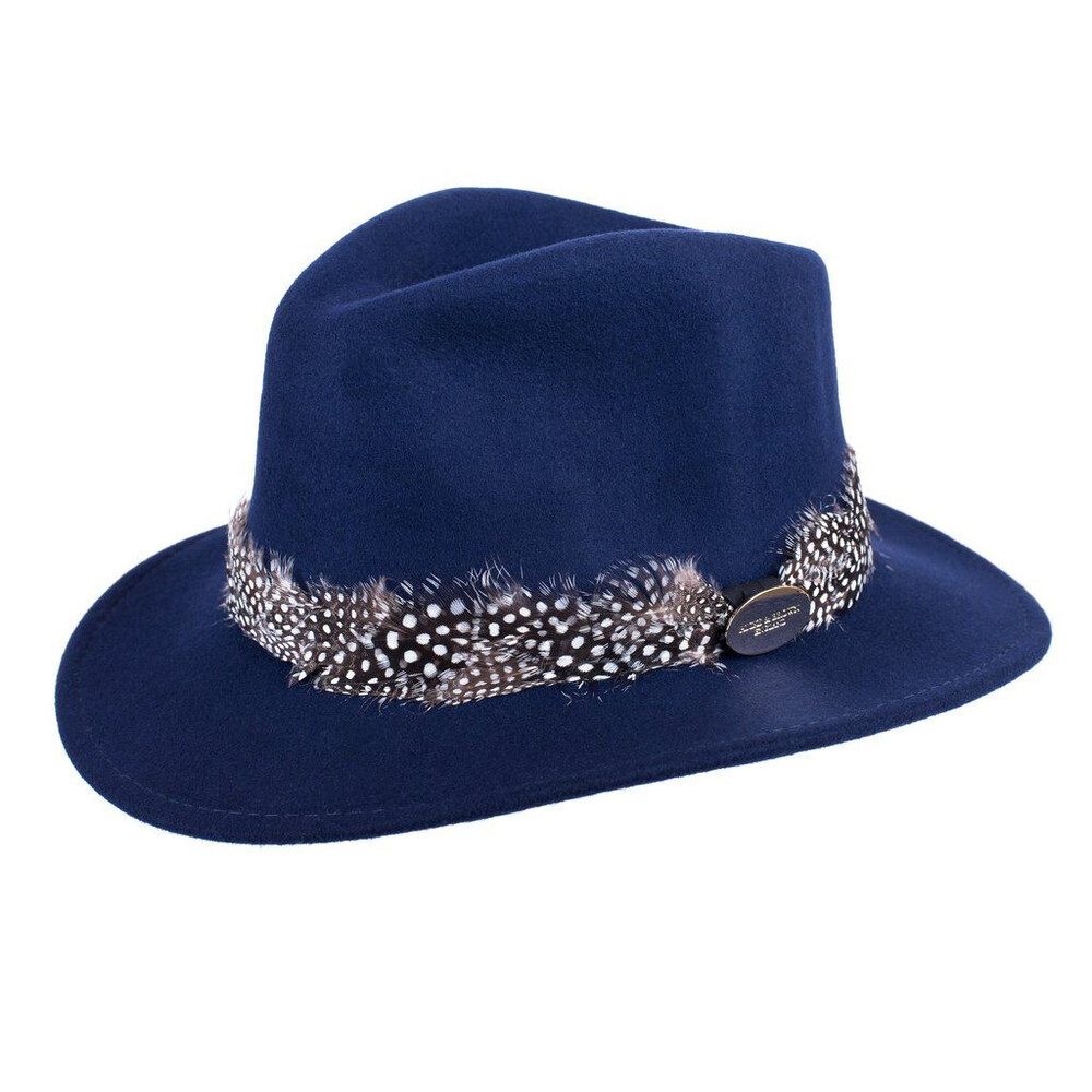 Hicks & Brown Suffolk Fedora Hat with Guinea Feather Wrap - Grey - XL Blue