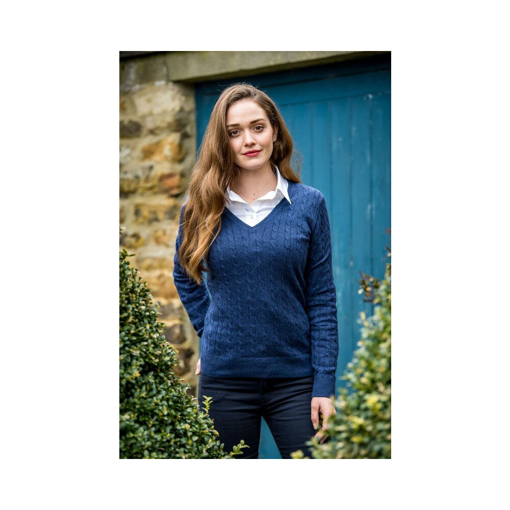 Schoffel Ladies Cotton Cashmere Cable V-Neck Jumper Indigo
