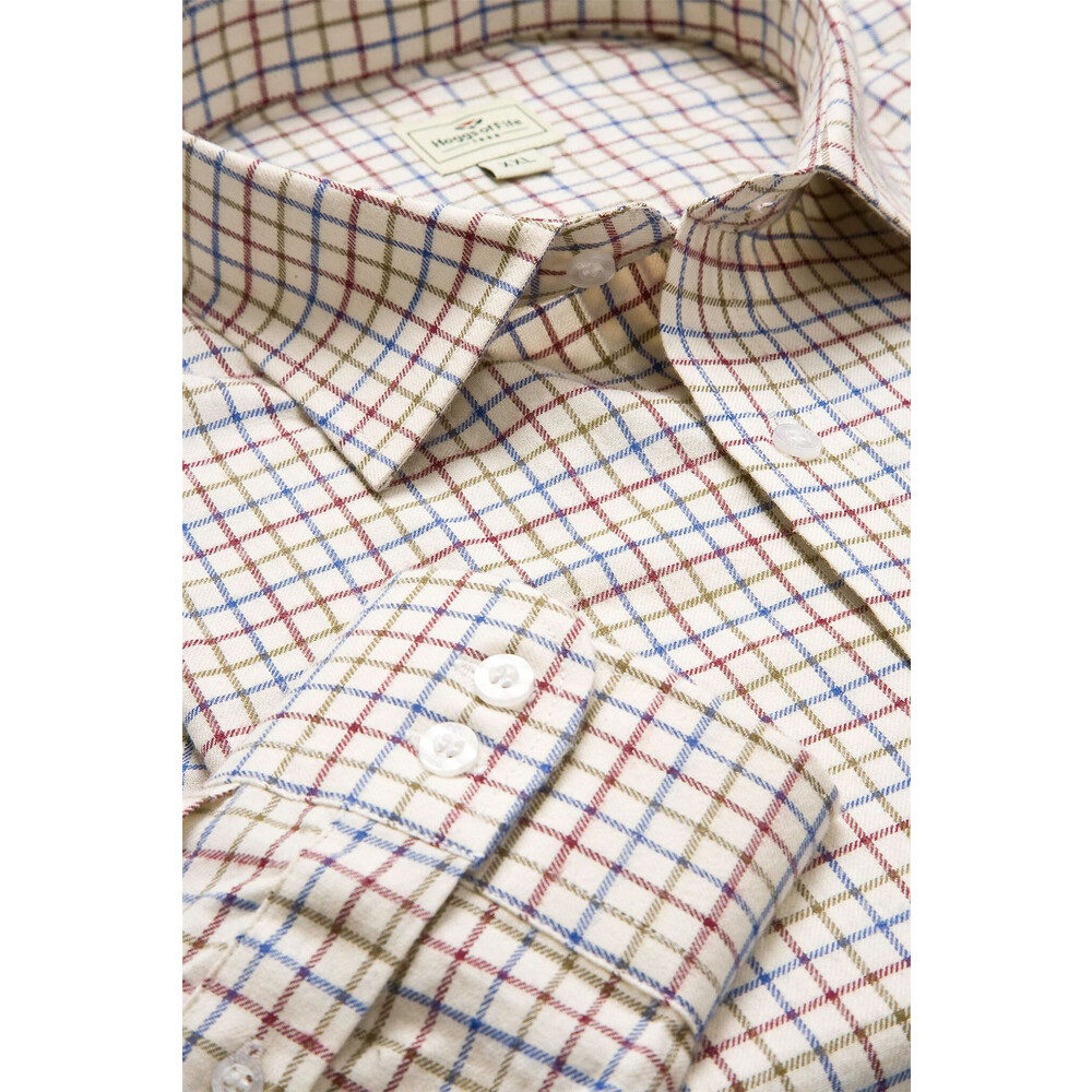 HOGGS OF FIFE Hoggs of Fife Pure Cotton Tattesall Shirt in Wine/Blue/Green