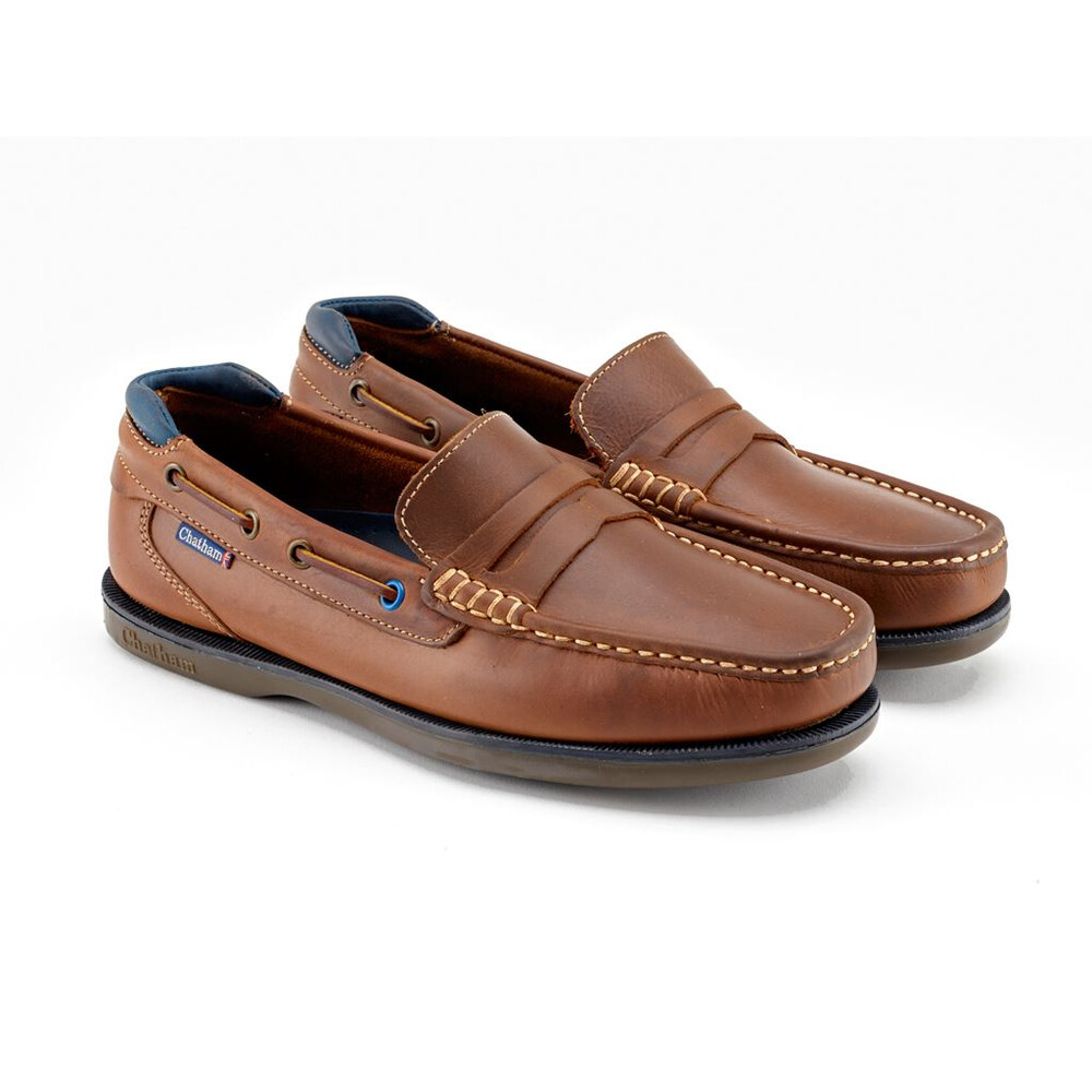 Chatham Balfour Premium Leather Boat Shoes Tan/Navy