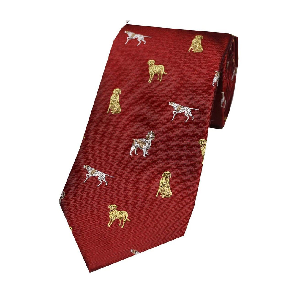 Soprano Country Silk Tie - Mixed Dogs - Red