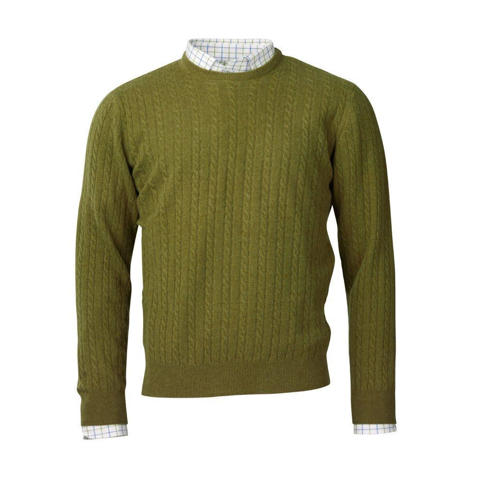 Laksen Rupert Cable Knit Jumper - Moss