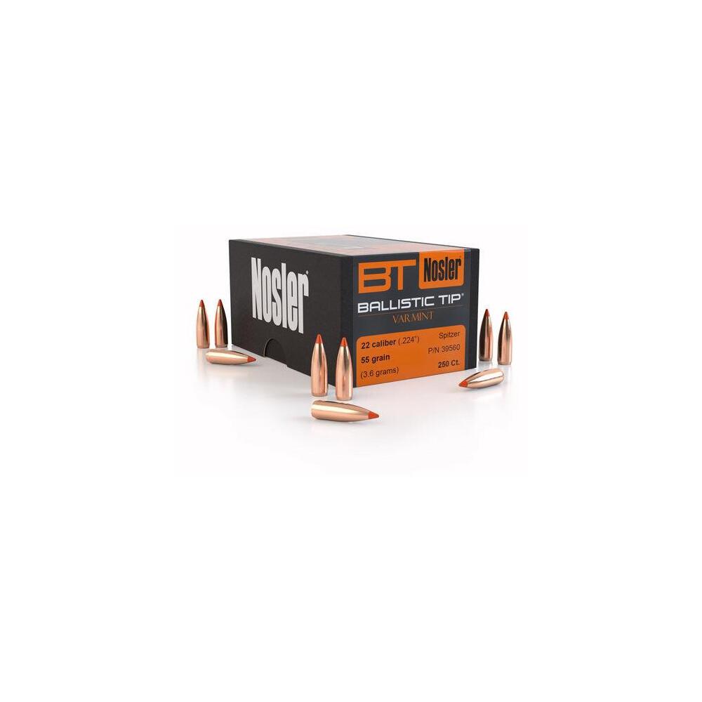 Nosler Ballistic Tip Varmint Bullets -  Cal - 55gr - x100