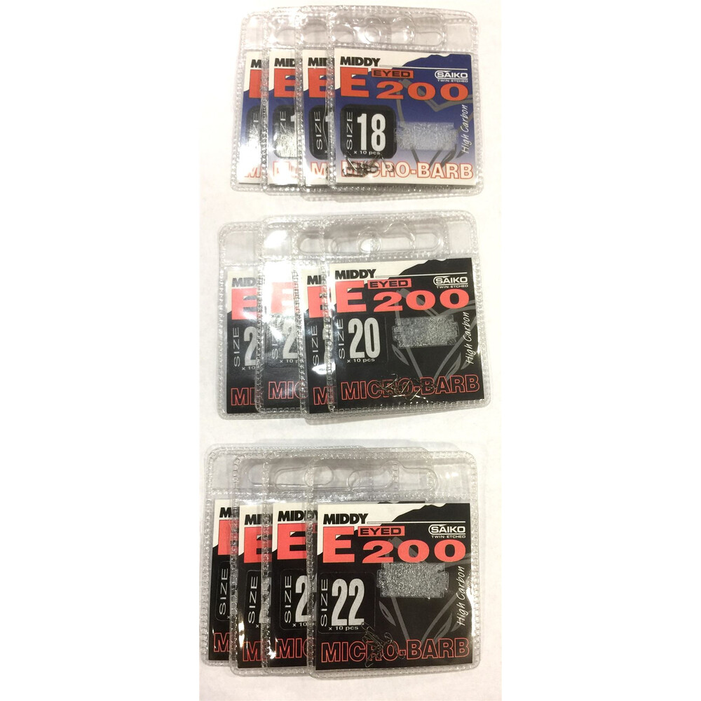 Middy E300 Hooks Bundle - 12 Packs - Sizes 18.20 & 22